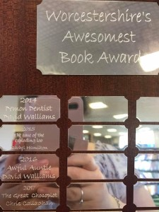The Great Chocoplot Worcestershire's Awesomest Book Award engraving